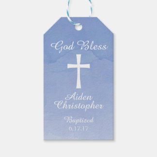 Blue Watercolor Baptism or Communion Gift Tag