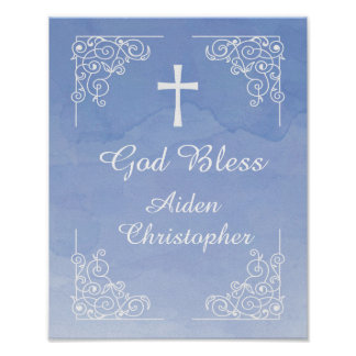 Blue Watercolor Baptism or Communion Welcome Sign Poster
