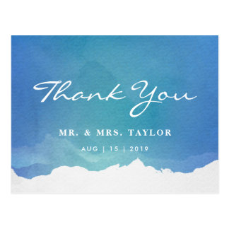 Blue Watercolor Beach Wedding Thank You Postcard