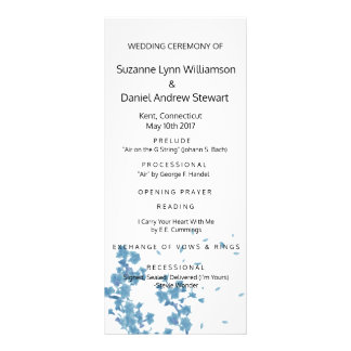 Blue Watercolor Blossoms Wedding Program Rack Card