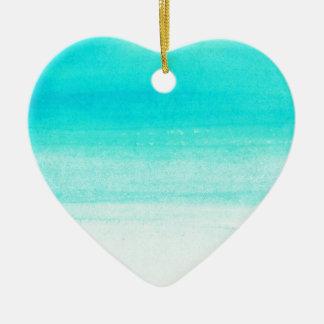 blue watercolor brushstroke ceramic heart decoration