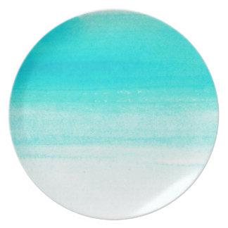 blue watercolor brushstroke party plate