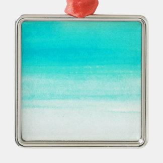 blue watercolor brushstroke Silver-Colored square decoration