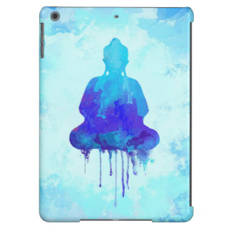 Blue watercolor Buddha painting on case