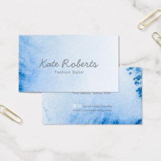 Blue Watercolor business card | minimalist