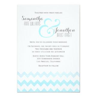 Blue Watercolor Chevron Wedding Invitation