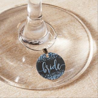Blue Watercolor Confetti Dots Wedding Bride Wine Charm