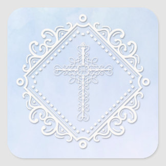 Blue Watercolor Crucufix Religious Square Sticker