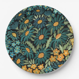 Blue watercolor daisies paper plate