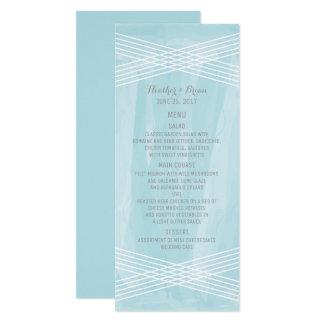 Blue Watercolor Deco Wedding Menu Card