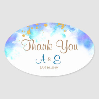 Blue Watercolor Dolphin Thank You Oval Sticker