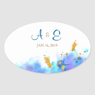 Blue Watercolor Dolphin Wedding Oval Sticker