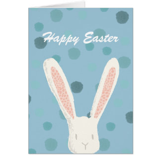 Blue Watercolor Easter Bunny Greeting Card