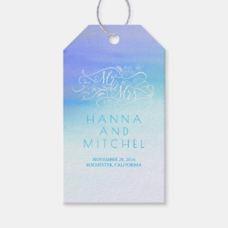 Blue Watercolor Elegant Typography White Wedding Gift Tags