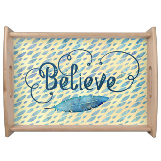 Blue Watercolor Feather Believe Typography Yellow Serving Tray