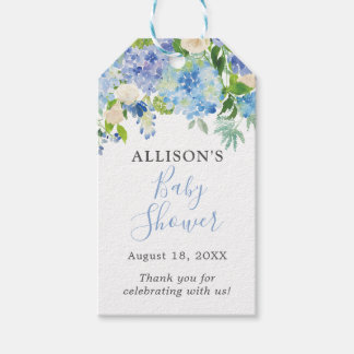 Blue Watercolor Floral Baby Shower Gift Tags