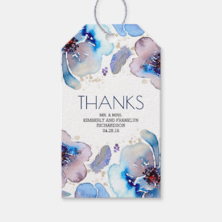 Blue Watercolor Floral Boho Feathers Wedding Gift Tags
