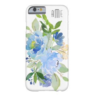 Blue Watercolor Floral Bouquet with Your Monogram Barely There iPhone 6 Case