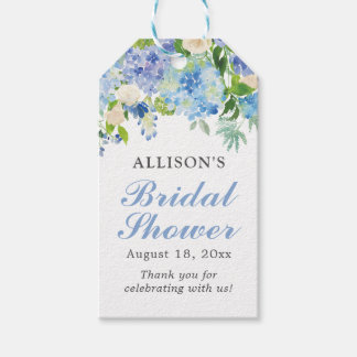 Blue Watercolor Floral Bridal Shower Gift Tags