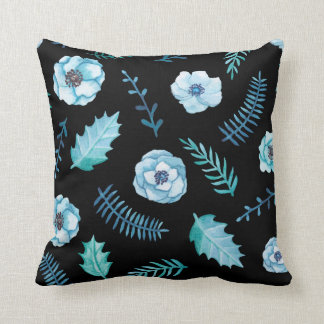Blue Watercolor Floral Cushion