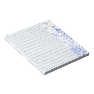 Blue Watercolor Floral Design, Lined Notepad
