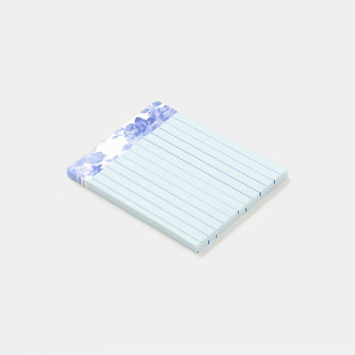 Blue Watercolor Floral Design, Lined Post-it Notes