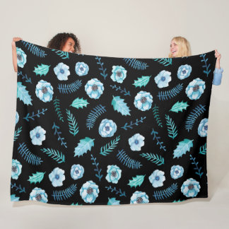 Blue Watercolor Floral Fleece Blanket