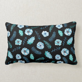 Blue Watercolor Floral Lumbar Cushion