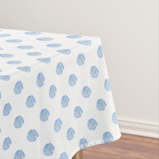 Blue Watercolor Floral Pattern Tablecloth