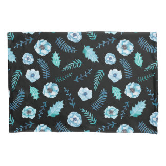 Blue Watercolor Floral Pillowcase
