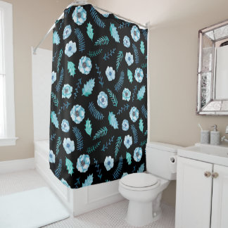 Blue Watercolor Floral Shower Curtain