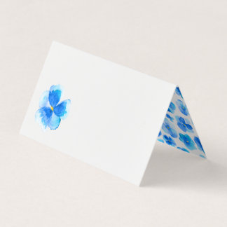 Blue watercolor floral wedding event place cards