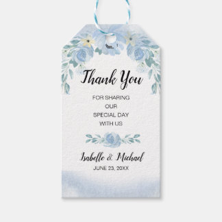 Blue Watercolor Floral Wedding Favor Thank You Gift Tags
