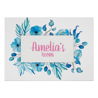 Blue watercolor floral wreath girls room sign
