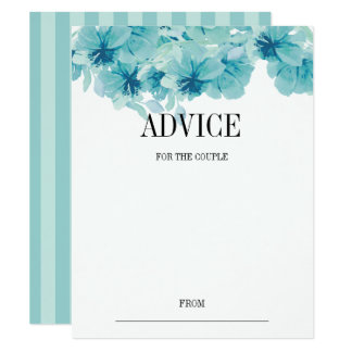 Blue Watercolor Floral Wreath Wedding Advice Card