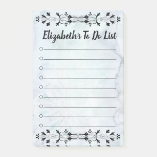 Blue Watercolor Flourish To Do List Post-It Notes