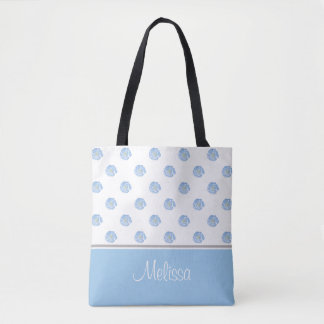 Blue Watercolor Flower Blossoms | Personalised Tote Bag