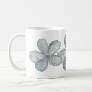 Blue Watercolor Flowers Classic White Coffee Mug