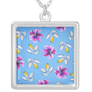 Blue Watercolor Flowers Necklace