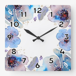 Blue Watercolor Flowers Square Wall Clock