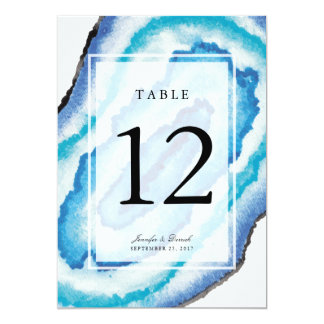 Blue Watercolor Geodes Wedding Table Number Card