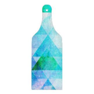 Blue Watercolor Geometric Pattern Cutting Board