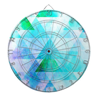 Blue Watercolor Geometric Pattern Dartboard