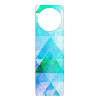 Blue Watercolor Geometric Pattern Door Hanger
