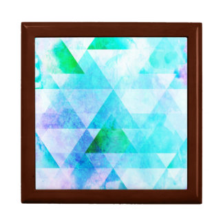 Blue Watercolor Geometric Pattern Gift Box