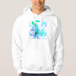 Blue Watercolor Geometric Pattern Hoodie