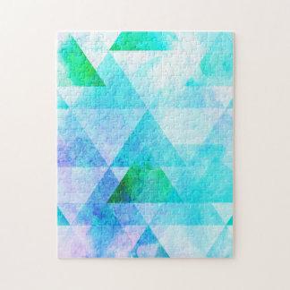 Blue Watercolor Geometric Pattern Jigsaw Puzzle