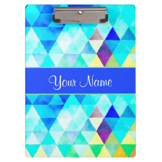 Blue Watercolor Geometric Triangles Clipboard