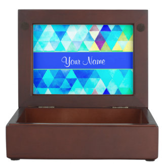 Blue Watercolor Geometric Triangles Keepsake Box