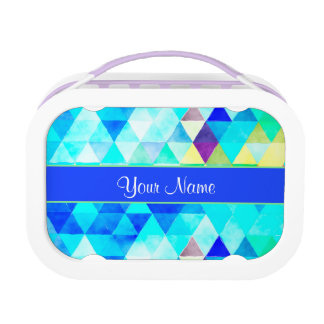 Blue Watercolor Geometric Triangles Lunch Box